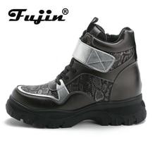 Fujin Women Boots Winter Snow Plush Platform Flat Zip Magic Tape Female Keep Warm Waterproof