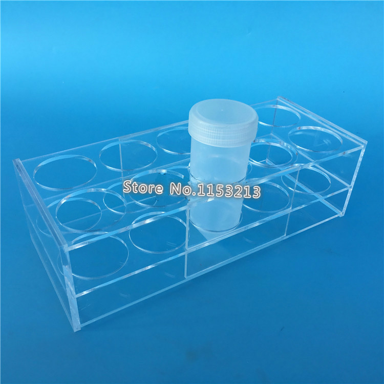 Plexiglass Centrifuge Tube Rack 120 ml * 10-Holes Rectangle Transparent Test Tube Stand Diam. 45 mm