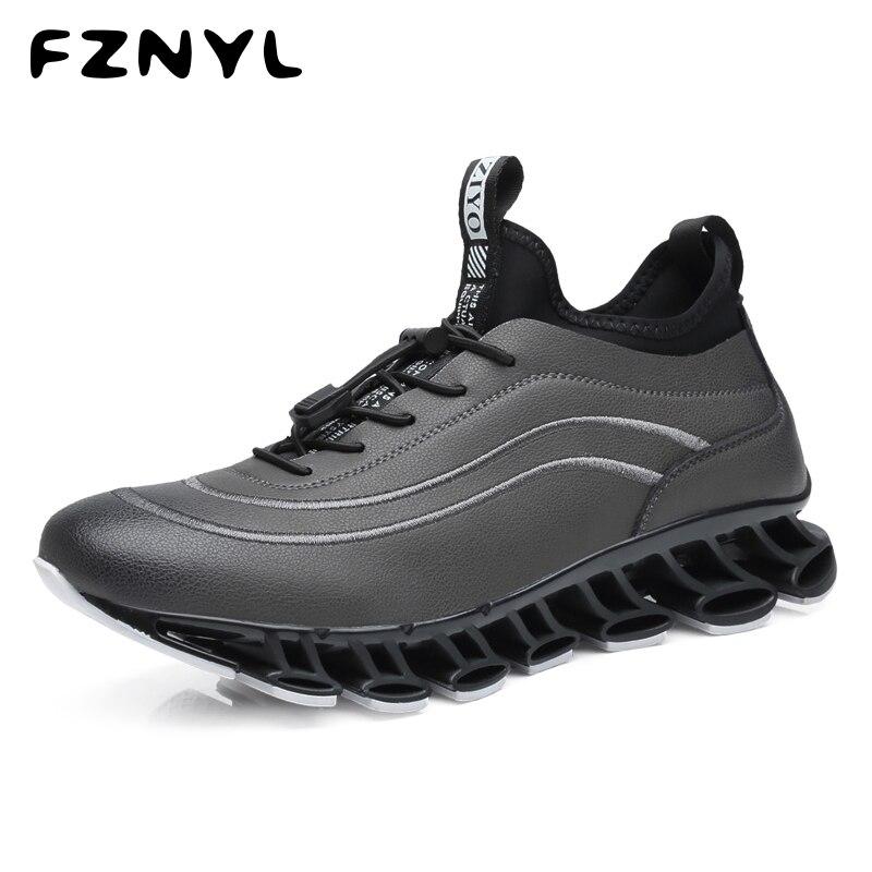 FZNYL 2019 nouvelles chaussures de loisir à la mode hommes vache fendu en cuir + Lycra grande taille 38-44 baskets mâle extérieur amortissement résistant à l'usure chaussure
