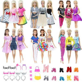 3 zestawy modne ubrania dla lalek stroje + 10 par losowe buty + 24 sztuk losowe akcesoria klejnoty dla lalek Barbie dla dzieci zabawki tanie i dobre opinie BJDBUS Tkaniny Fit for 11 5 in -12 in (30cm) doll Dziewczyny Moda Sukienka w stylu western CHOKING HAZARD -- Small parts Not for children under 3 years