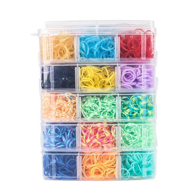 9000pc DIY Toys Rubber Loom Bands Set Kid DIY Bracelet Silicone Rubber Bands Elastic Weave Loom Bands Toy Children Goods