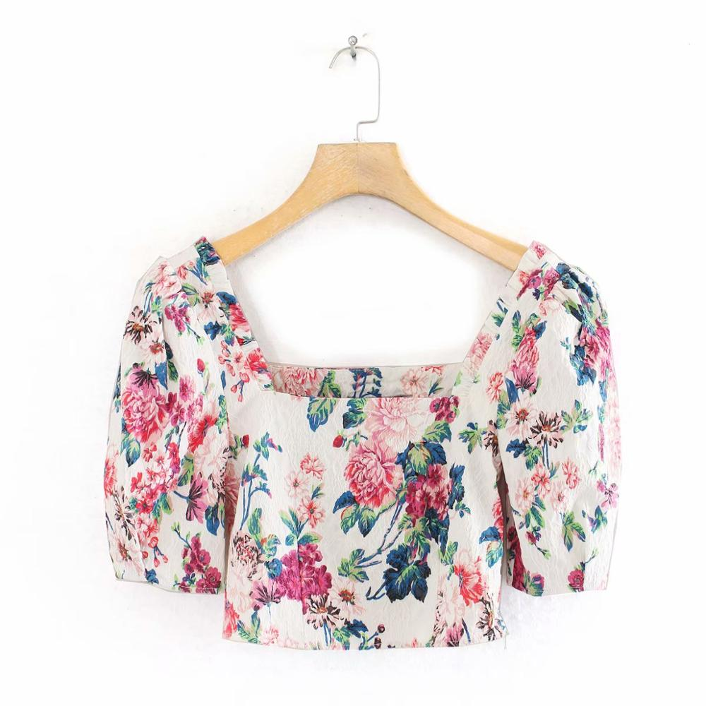 2020 Women Square Collar Flower Press Print Short Blouses Shirts Women Puff Sleeve Side Zipper Kimono Blusas Chic Tops LS6421