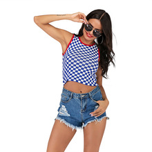 Contrast Plaid Vest Women Summer Short Cropped Slim Sleeveless Elastic Tank Top contrast knit tank top