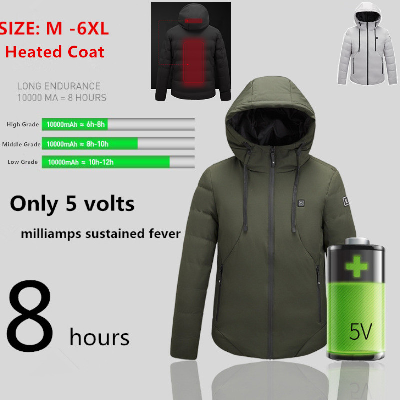 Heated Jackets Men Winter Clothes USB Body Warm Thermal Coat Heating Hooded 5XL 6XL Mens Parka Outwear Parka Black Grey Hoodies