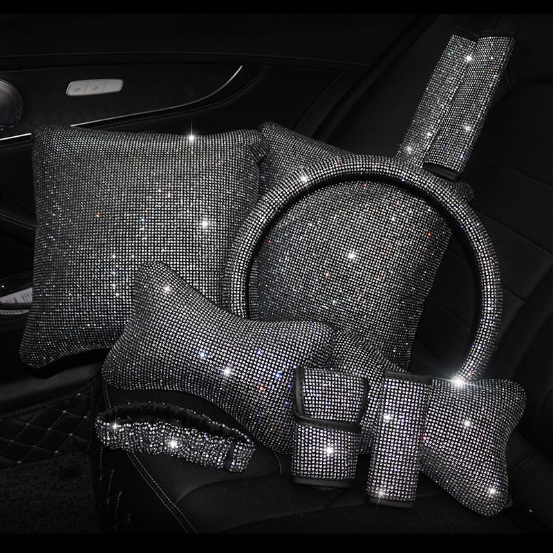 Crystal Diamond Gearbox handle cover Hand brake cover car seat safety belt shoulder cover Car Interior Set Accessories for girls
