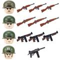Военный шлем морской корпус США, строительные блоки WW2, армейский флот, отряд солдат, фигурки, два цвета, оружие, мини-модель, кирпичи, игрушка