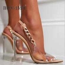 Bombas transparentes mulheres sexy dedo do pé apontado design de corrente de cristal sapatos de salto alto das senhoras stiletto sapatos de vestido de casamento mulher