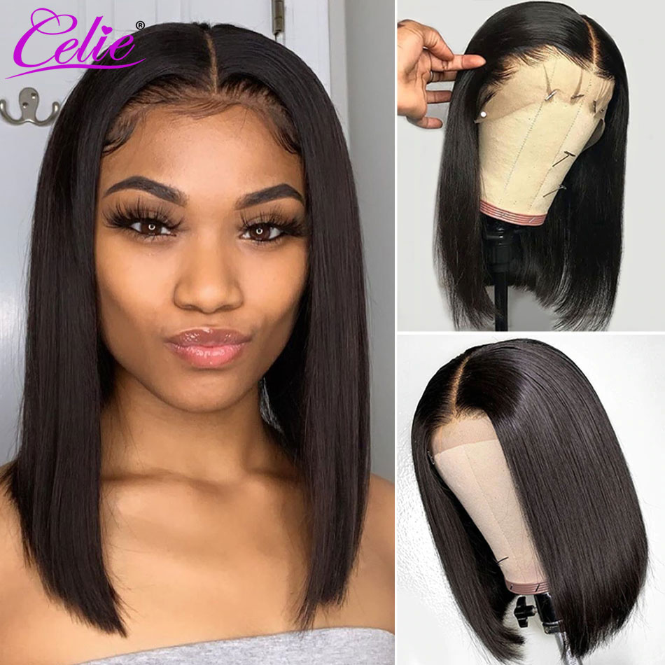 Celie Bob-Peluca de cabello humano liso con encaje frontal, postizo de pelo liso con cierre de 4x4 de densidad 150