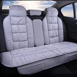 Image 2 - Sıcak arka araba klozet kapağı evrensel kış peluş yastık taklit kürk malzeme araba için koltuk koruyucusu Mat araba iç aksesuarları