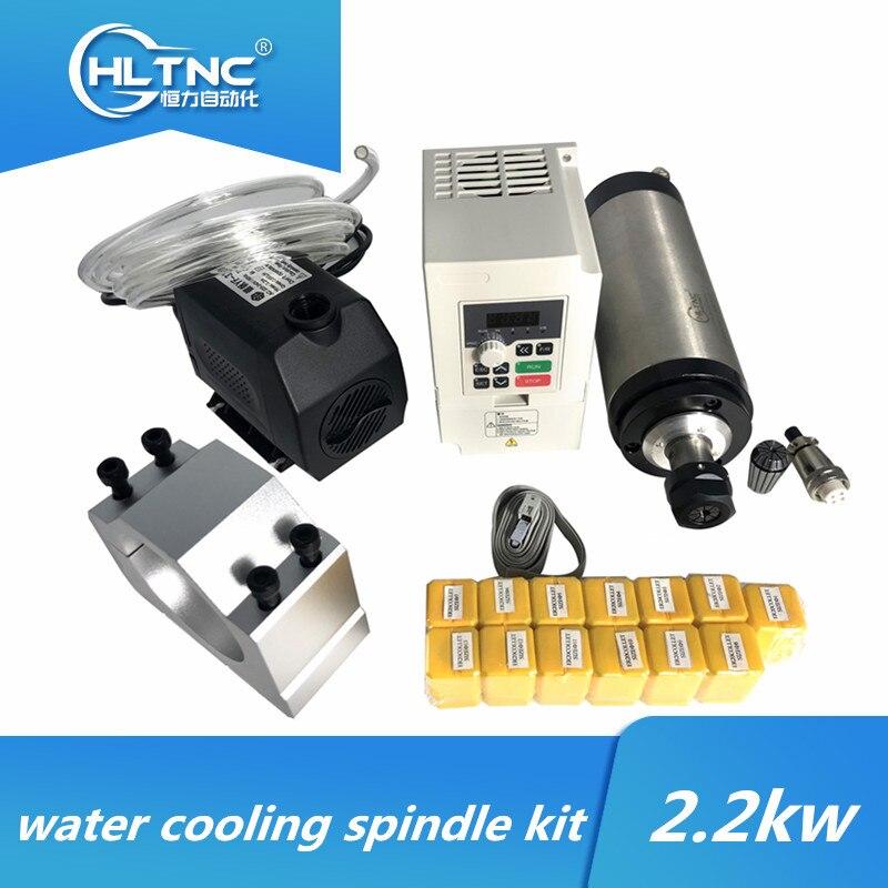 Waterkoeling Cnc Spindel Motor Kit 2.2 Kw 220V/380V Watergekoelde Spindel + Vfd + Water pomp + 80Mm Beugel + ER20 Spantangen Voor Cnc|Werktuig Machines|   - AliExpress