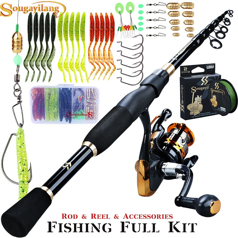 Sougayilang Fishing Full Kit With Telescopic Spinning Rod And 14BB Spinning Reel And Braided Fishing Line Lure Fishing Tool Set