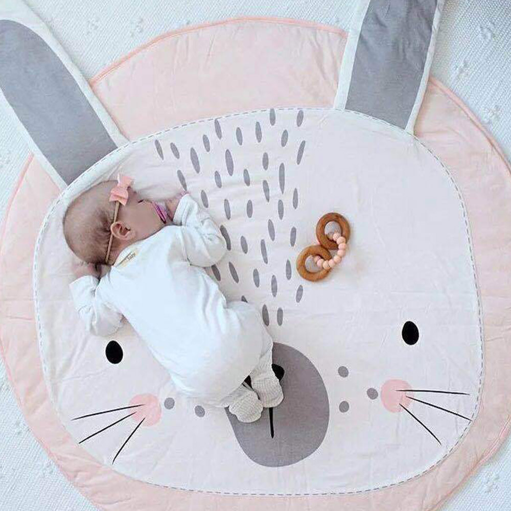 Animals Kids Carpet Newborn Cartoon Baby Play Mat Infant Room Décor Toys Rug Crawling Blanket Cotton Round Children's Mat 90 CM