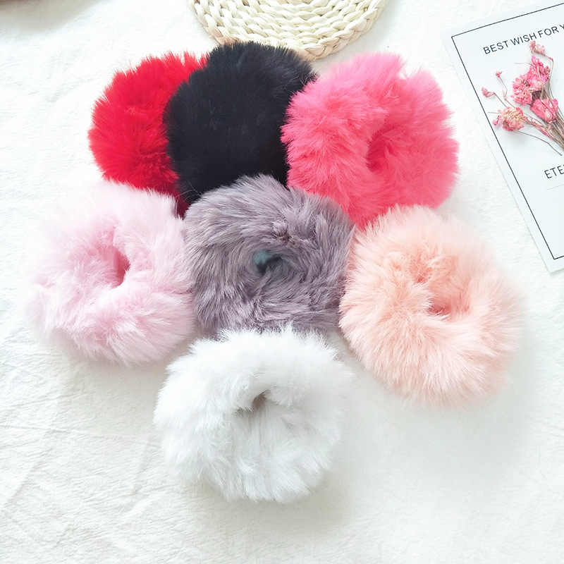 Fashion Fluffy Faux Fur Furry Scrunchie Elastic Hair Ring Rope Band Tie Round Girls Scrunchie Black Fluffy White