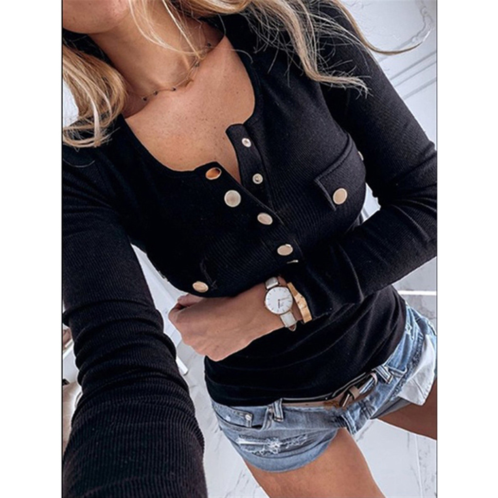 Winter Women's Shirts Casual Long Sleeve Buttons Top Ribbed V Neck Slim Fit Solid Autumn Spring Basic Daily Button Ladies