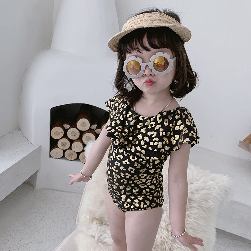 Bronze Leopord Pattern Fashion GIRL'S One-piece Swimming Suit Children Harness Swimming Cap Tour Bathing Suit Flounced Small Chi