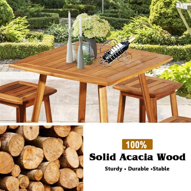 5PCS Acacia Patio Table & 4 Stools  5