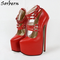 Sorbern Customized 24Cm High Heel Women Pumps 6 Straps Pointy Toes Platform Shoes Female Genuine Leather Multi Colors