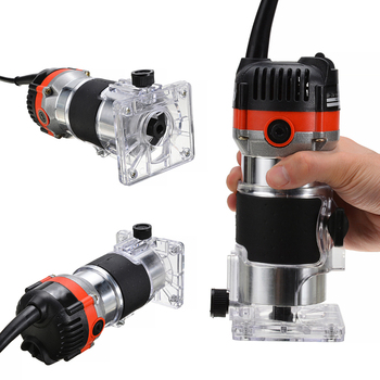 220V 530W Electric Hand Trimmer Wood Router Trimmer 1/4'' Electric Trimmer Wood Edge Router Tools DIY Trimming Grooving Drilling