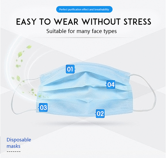 In stock High Quality Non Woven Disposable  blue Face Mask 3 Layers Active Carbon Mouth Mask 3