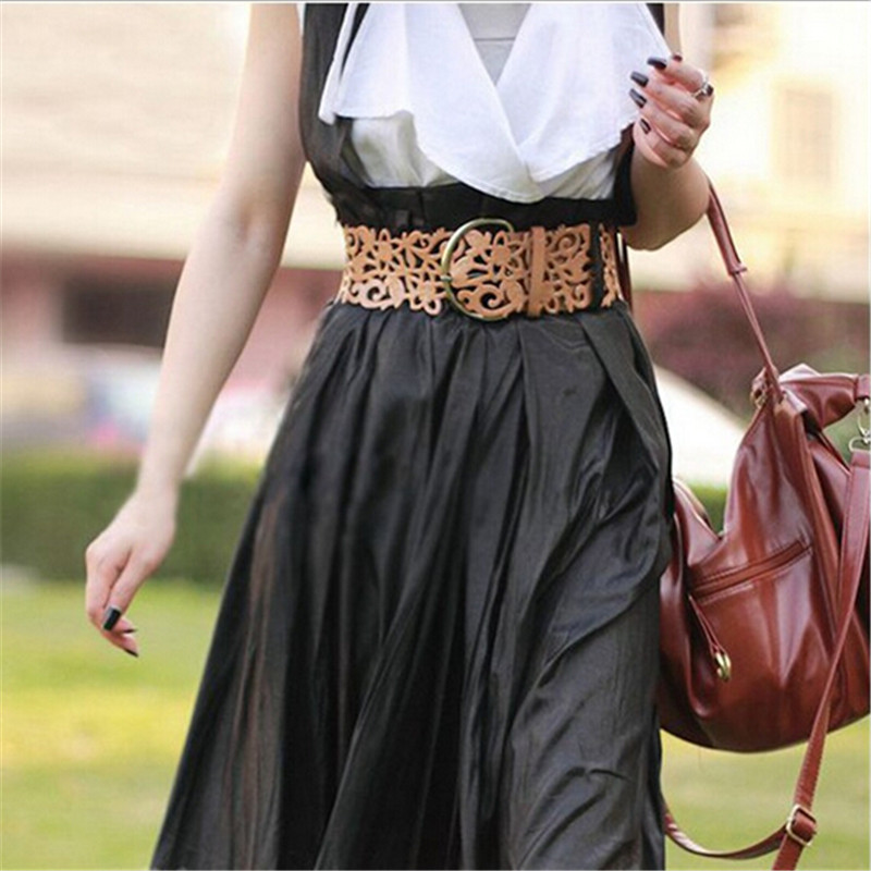 Retro Hollow Female Belt Fashion Cutout Flower Belt Flower Cummerbund Decoration Wide Strap Belt Women Waistband Belts For Dress