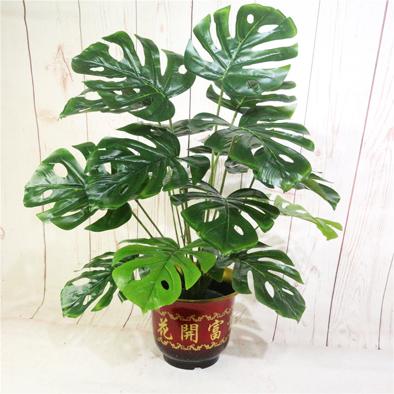 70cm 18 Fork Tropical Monstera Big Artificial Tree Fake Turtle Leafs Plastic Leaves Green Palm Plants For Home Office Decoration