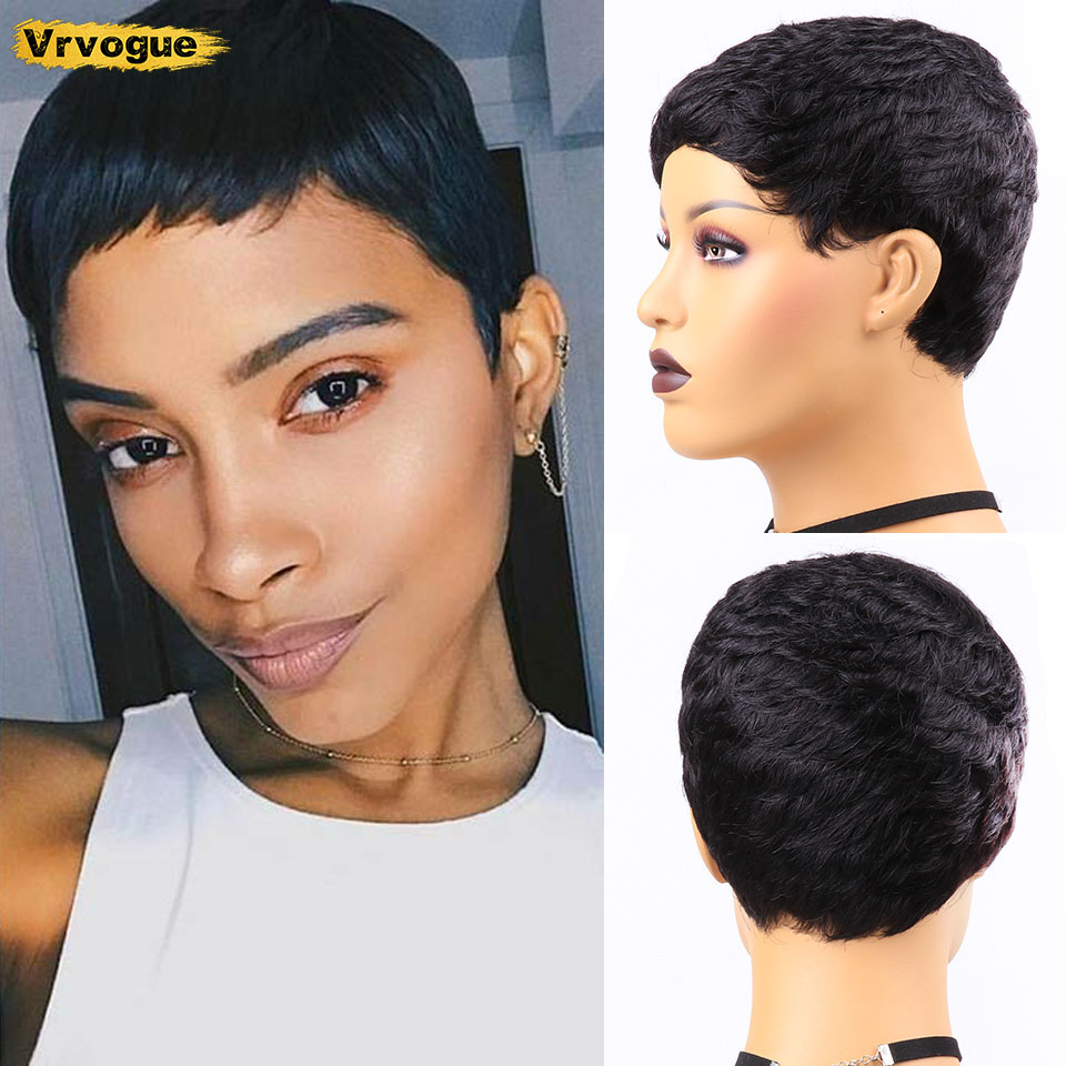 Pixie Cut Wig Natural Curls Short Wigs Human Hair Wigs For Black Women Brazilian Wig Natural Color 130% Density Vrvogue Hair