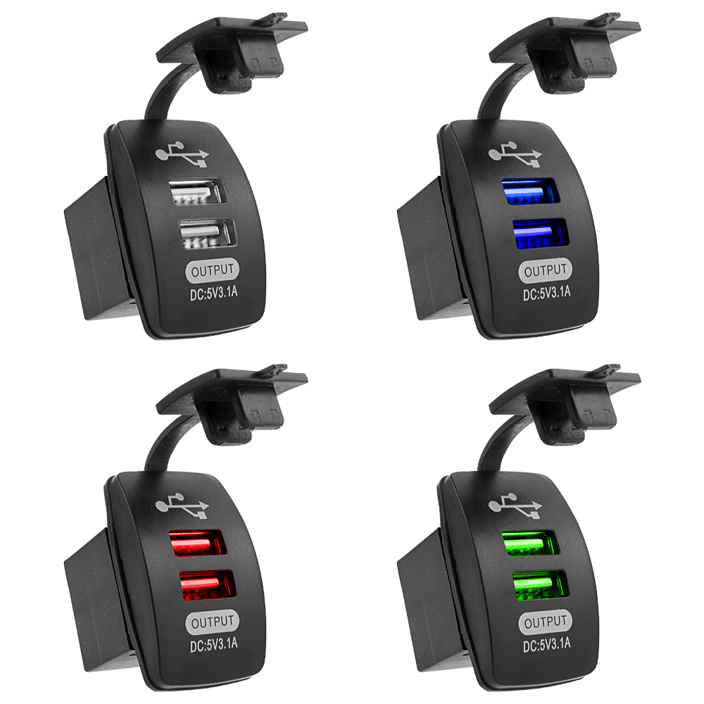 5V 3.1A Universal Car Charger Waterproof Dual USB Ports Auto Adapter Dustproof Phone Charger For Iphone Xiaomi Redmi Samsung