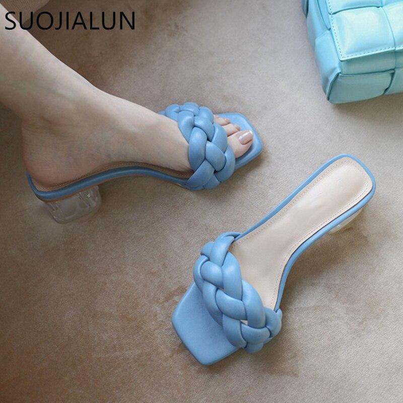 SUOJIALUN 2020 Fashion Brand Weave Slippers Ladies Elegant Square Med Heels Sandals Slip On Slide Femmes Sandales Mujer Slipper