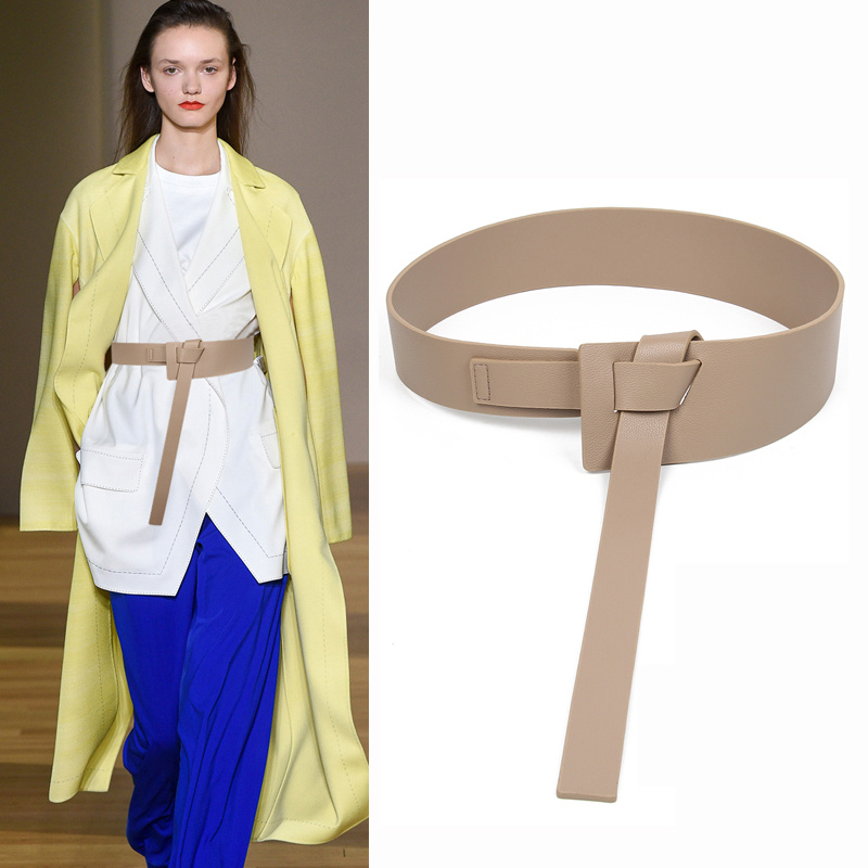 Designer Brand High-quality Pu Leather Belts For Women Coat Female Decorative Waist Skirt Fashion Knitted Shirt Off White Belt