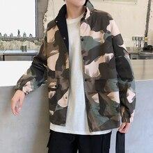 Autumn Camo Jacket Men Fashion Military Wind Casual Cotton Stand Collar Jacket Man Streetwear Loose Hip Hop Bomber Jacket Men