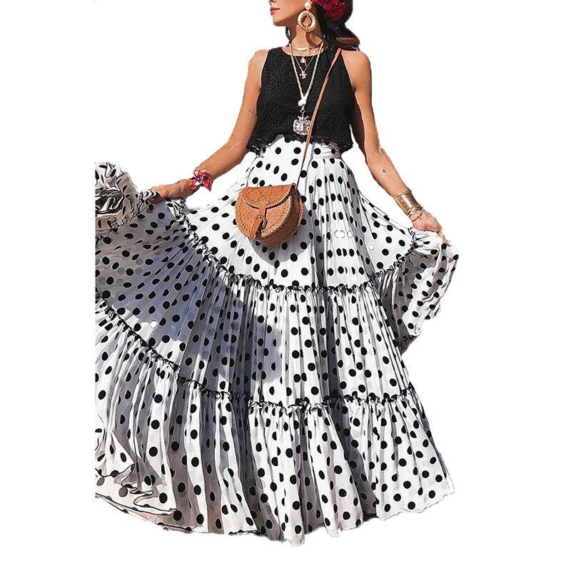 Women Long Dress Summer Sexy Sleeveless Ruffles O Neck Dot Print Tank Dresses Casual Loose Elegant Vacation Maxi Dress Plus Size in Dresses from Women 39 s Clothing