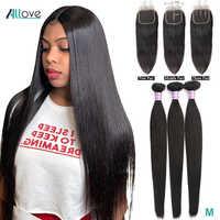 Peruanische Gerade Haar Bundles Mit Verschluss Menschliches Haar 3 Bundles Mit Verschluss Nicht-Remy Allove Haar Bundles und Verschluss