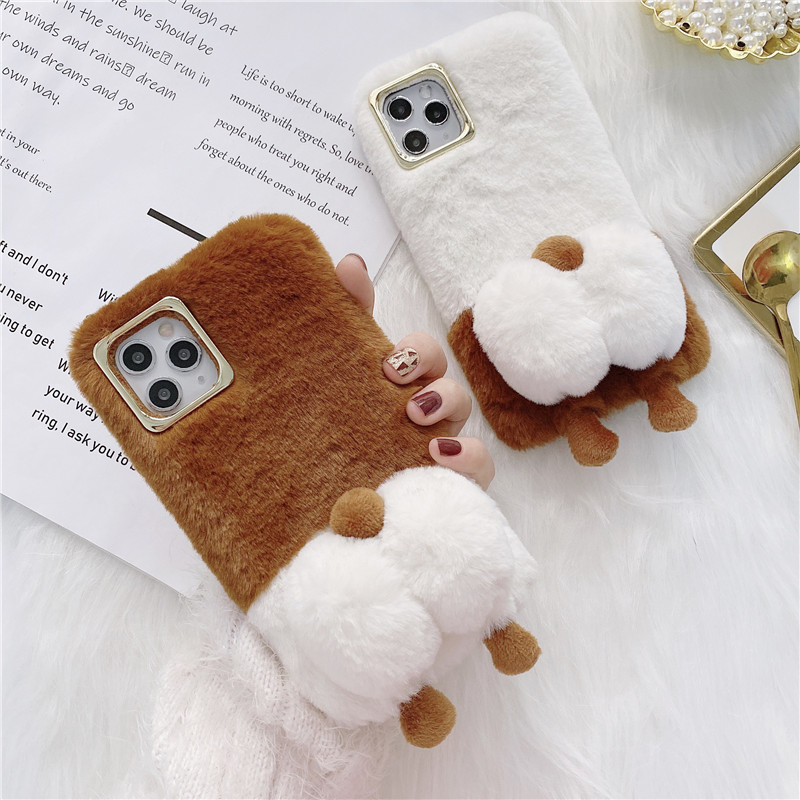 Cute Warm Fuzzy Dog Butt Phone Case For iPhone 12 Pro Max