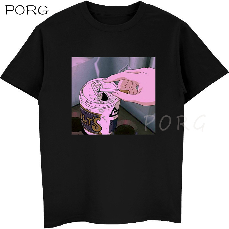 Sad Anime Vaporwave T-Shirt Aesthetic Japan Otaku T-Shirt Men Casual T Shirts 100% Cotton Short Sleeve Tees Streetwear Tshirt
