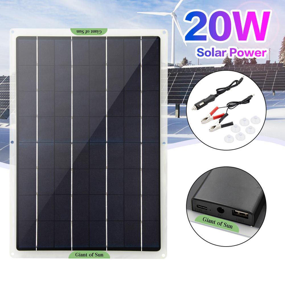 Гибкий Панели солнечные 20 Вт панели солнечных батарей солнечные панели солнечных батарей ячейки модуль постоянного тока для автомобиля ях...