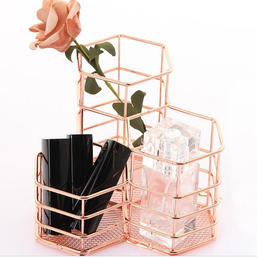 Creative Hexagon Wrought Makeup Brush Holder Desktop Organizer Eyebrow Pencil Stand Beauty Makeup Tool Kits