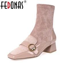 Fedonas 스퀘어 발가락 여성 중반 부츠 부츠 정품 가죽 부츠 따뜻한 숙녀 양말 부츠 우아한 파티 플랫폼 겨울 신발 여성