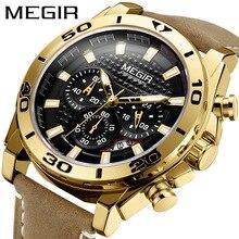MEGIR Reloj de cuarzo con fecha para Hombre, Reloj deportivo con correa de cuero, multifunción, True Three eye