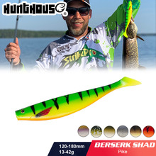 Hunthouse grande isca de pesca macia teeze pro shad isca 120 150 180mm berserk mar isca de pesca baixo para a pesca pike zander