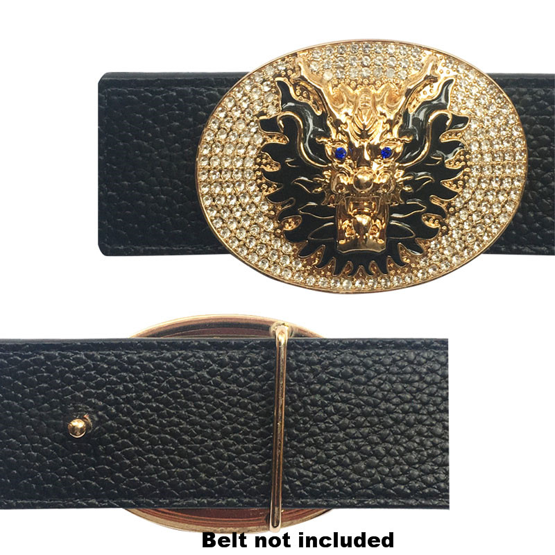 Traditional Chinese Dragon Icon Buckle For Belt Luxury Rhinestone Metal Accessories For Men's Belts