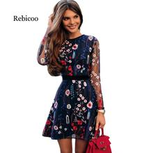 Sexy womens floral embroidery dress perspective mesh summer boho mini A word black 2019