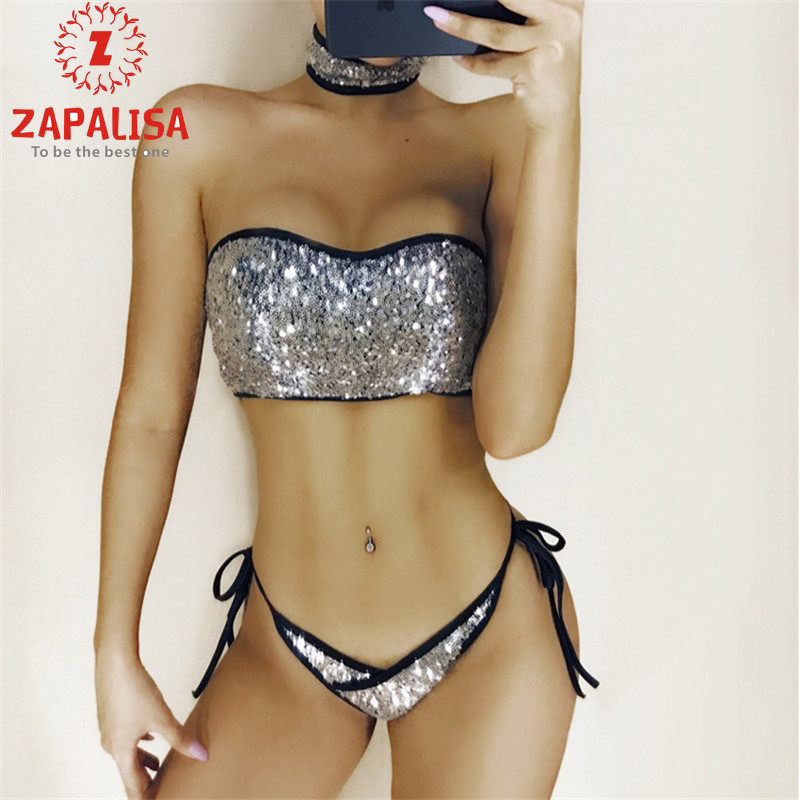 Zapalisa Sexy 3 Piece Bikini Fashion Slim Sequin Women Swimwear Necklace+Zipper Strapless Crop Tops+Elastic Waist Bandage Briefs