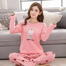 2019 Autumn Pyjamas Women Sleepwear Carton Cute Pijama Pattern Pajamas