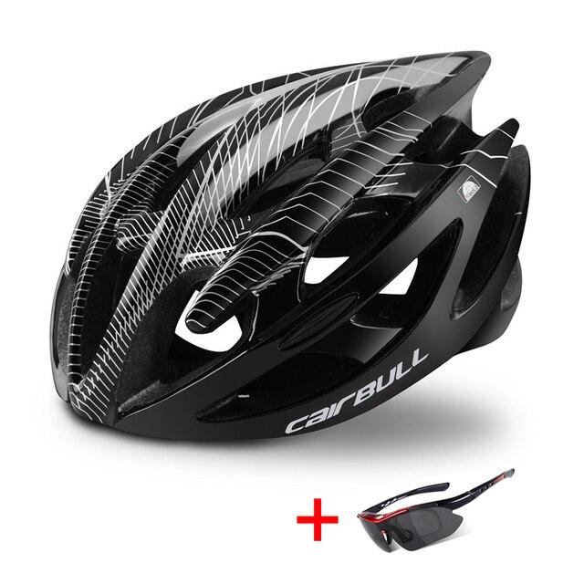 Ultraleve mountain bike estrada capacete da bicicleta com óculos de sol das mulheres dos homens equitação ciclismo capacete de segurança in-mold dh mtb bicicleta capacete 2