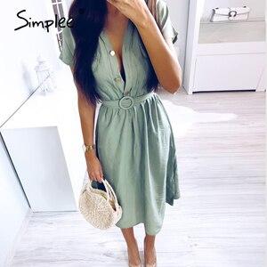 Image 2 - Simplee V neck solid women dress Vintage elegant button belt midi summer dress Casual streetwear office ladies pockets dress
