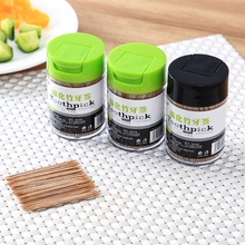 500Pcs Disposable Carbonized Bamboo Toothpicks Double Head Stick with Dispenser X7XD