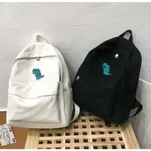 Canvas Backpack Book-Bag Campus-Bag Dinosaur Large-Capacity Small Black Korean-Style