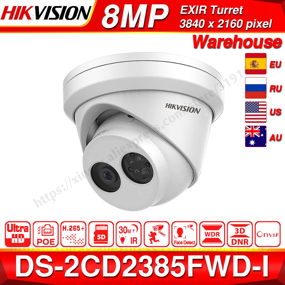 Hikvision original IP Camera DS 2CD2385FWD I 8MP Network CCTV Camera H.265 CCTV Security POE WDR SD Card Slot-in Surveillance Cameras from Security & Protection