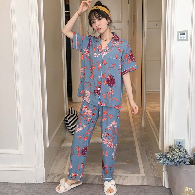 2019 Spring New Ladies Pajamas Set Turn Down Collar Short Sleeve+Pants Loose Soft Comfort Sleepwear Cartoon Print Thin Homewear