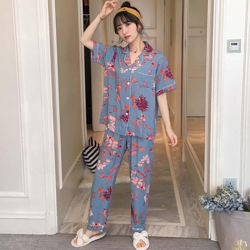 2019 Spring New Ladies Pajamas Set Turn Down Collar Short Sleeve+Pants Loose Soft Comfort Sleepwear Cartoon Print Thin Homewear